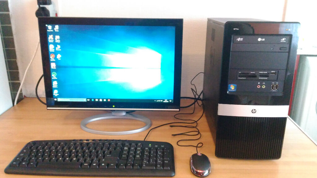 Windows 10 Desktop Pc With 19 Monitor Keyboard Mouse Built In Wifi
