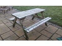 Sturdy wooden picnic table