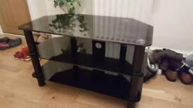 REDUCED black glass tv unit