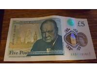 £5 note AA31