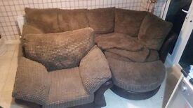 Brown fabric half leather corner sofa + armchair + footstool MUST GO ASAP