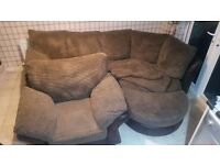 Brown fabric half leather corner sofa + armchair + footstool MUST GO ASAP