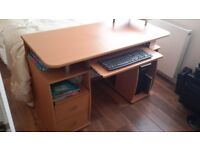 Light Oak Computer Desk With Drawers