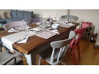 6 seater pine wood dining table