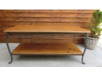 Coffee table solid heavy metal and wood 2 tier unusual art made IN England FREE DELIVERY WITHIN LE3