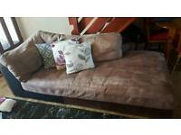 brown suede and leather corner sofa