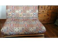 Solid wood FUTON (sofa bed) with removable cover. Substantial piece of furniture. REDUCED PRICE ***