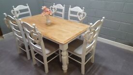 Gorgeous Bespoke 6ft x 3ft Table and Six Chair Set