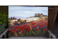 Large Poppies and Landscape original painting canvas wood frame FREE delivery 10 miles of Guildford*