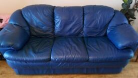 3 Seater & 2 Seater Blue Leather Sofa's For Sale (Need to be Gone by 19 August)