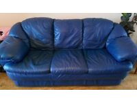 3 Seater & 2 Seater Blue Leather Sofa's For Sale (Need to be Gone ASAP)