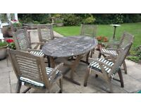 Teak Garden Furniture - Large Oval Extending Teak Table and 6 Chairs