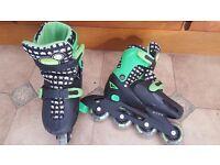 Zinc Inline Adjustable Roller Skates Childrens Size 13-3 - Green & Black
