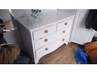 Lovely painted hardwood chest of drawers. Been upgraded just need a bit of work on sticky drawers!