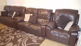 3 seater 2 seater 1 seater leather reclining sofa 5 years old need to sell it due to buy a sofa bed