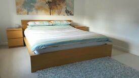 **Sold**REDUCED PRICE king size bed, mattress, bedside tables and lights