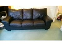 Black leather 3-seater sofa