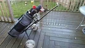 Full set of mens golf clubs, trolley etc £30