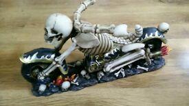 Skeleton biker bottle holder. Harley Suzuki Honda chopper