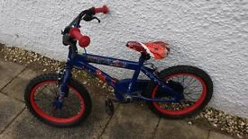 Blue, Spider man themed boys bike - 16 inch wheels. Good condition (low miles!).