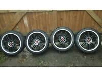 """17"""" Matt Black & Polished Dish Stunning Alloy Wheels 4 Stud Also Fit Mini"""