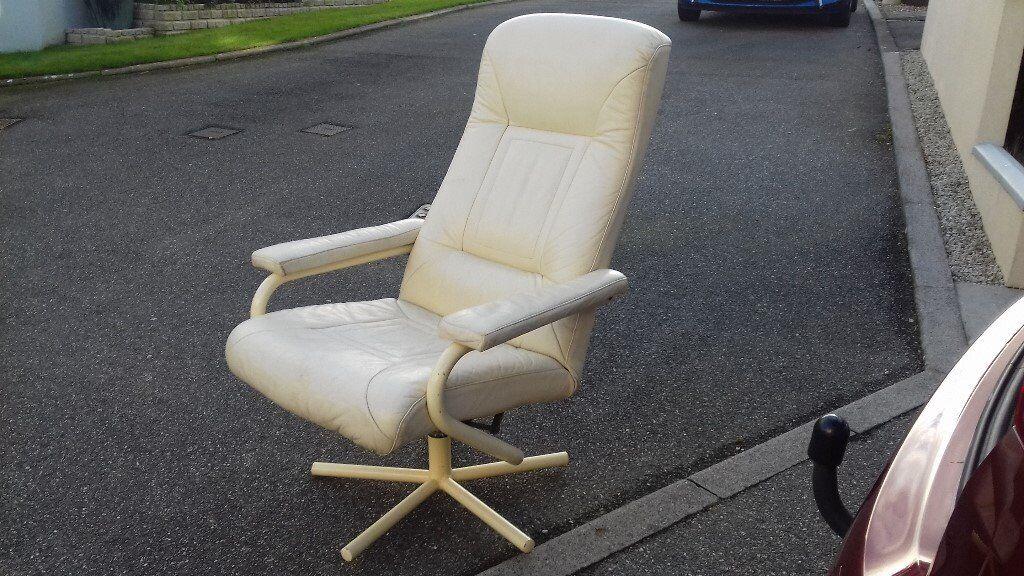 cream leather swivel / reclining chair