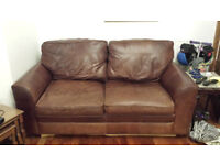 Chestnut brown HALO real leather sofa - collection Gravesend. See description.