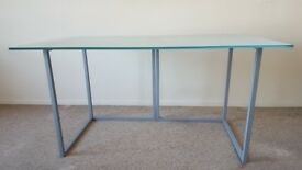 Habitat Nic glass desk 140 x 80cm with steel trestles
