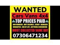 ALL CARS VANS 4x4 WANTED CASH WAITING COLLECT FAST SELL MY SCRAP
