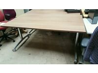 Straight Office Desk On Castors- Top folds In ( 2 Available)