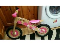 Girls wooden balance bike