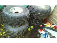 Quad wheels with matching tyres same as 200cc taken from a big 110 sukida ..also breaking for spares