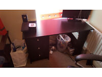 Malibu 3 Drawer Dressing Table / Computer Desk - Black
