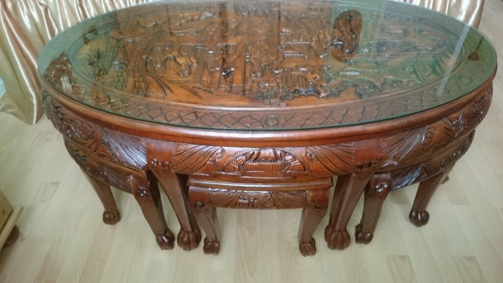 Wondrous Oriental Chinese Carved Coffee Table With Stools House Clearance In Trafford Manchester Gumtree Gmtry Best Dining Table And Chair Ideas Images Gmtryco