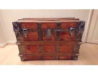 Vintage steamer hardware trunk