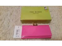 Brand new in box Ted Baker hot pink metal cube patent matinee purse