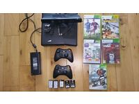 Xbox 360, 5 games, kinect, 5 battery packs and wires( ALL WORKING)