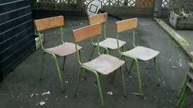 Vintage Industrial Plywood and steel Retro Stacking School Cafe Bar Chairs - 6 left!
