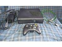 Xbox 360 slim 250gb in black, controller and all wires.
