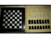 "Marble 10"" chess board & set"