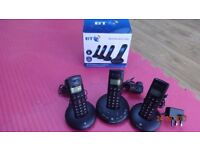 BT digital cordless phones with built-in answering service. Set of 3.