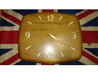 Vintage Smiths Good wood Timber Electric Wall Clock 240V