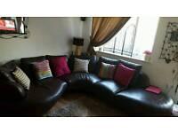 Corner Sofa leather brown ...