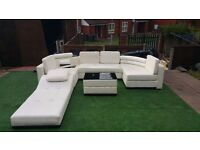 5 piece white eco leather sofa with chaiselonge
