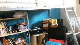 Bunk Bed with desk,bookcase & mattress