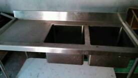 Double bowl single drainer, sink