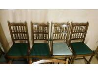 4x solid wood table dining chairs