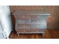 Silver embossed metal chest of drawers pretty handles