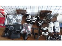 Job lot of junior ice hockey clothes and kit and extras - safety equipment lot