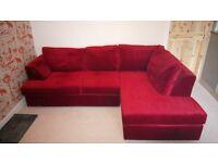 Corner Sofa, Right Hand, Red Velvet